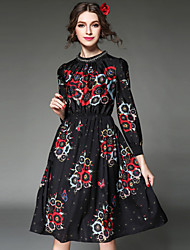 Fashion Women Dress Bead Print Ethnic Vintage Europe Elegant Elastic Waist Long Sleeve Black Dress