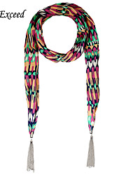 D Exceed Design Scarves Metal Tassels with Multicolor Pattern Printing Scarf Necklace for Women Wholesale