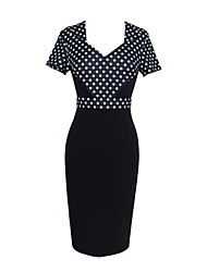 Women's Sexy / Street chic Polka Dot Bodycon Dress,V Neck Knee-length Polka Dots Print Randomly
