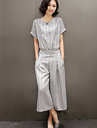 Women's Striped Black / Gray Jumpsuits,Casual / Day Round Neck Short Sleeve