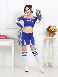 Shall We Cheerleader Costumes Women Performance Polyester 2 Pieces Dance Outfits Red / Blue