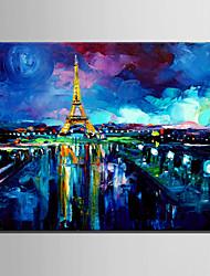dibujar la mini pintura al óleo del tamaño de correo casa moderna torre Eiffel a mano puro pintura decorativa sin marco