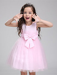 A-line Knee-length Flower Girl Dress-Cotton / Satin / Tulle Sleeveless
