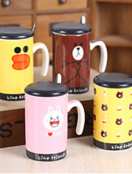 1PC 300ML Bear Ceramic Cup With Cover With A Spoon Creative Mug Cartoon Animals Cup Gifts (Random Style)