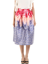 Boutique G Women's Floral Purple Skirts,Cute Knee-length