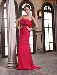 Floor-length Chiffon Bridesmaid Dress Sheath / Column Strapless with Cascading Ruffles