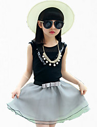 Girl's Black Tee / Skirt,Ruffle / Lace Cotton Summer