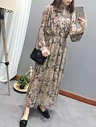 De las mujeres Gasa Vestido Simple Floral Maxi Escote Chino Poliéster