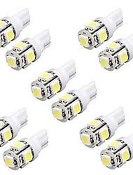 10PCS 5W T10 LED Bulbs Car LED Width Light W5W LED Reading Light W5W Interior LED Light T10 5050 5SMD LED White Color