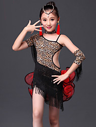 Latin Dance Outfits Children's Performance Milk Fiber Tassel(s) 5 Pieces Zebra / Leopard Print Latin DanceSleeves / Dress / Neckwear /
