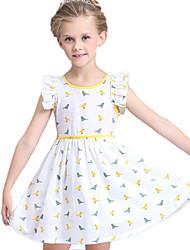Girl's White Dress Cotton / Polyester Summer