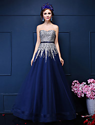 Formal Evening Dress-Ink Blue A-line Sweetheart Floor-length Tulle