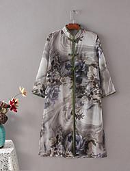 De las mujeres Floral Camisa-Escote Chino-Algodón / Lino-3/4 Manga