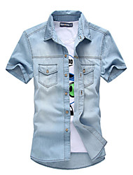 M- 3XL Plus Size Brand Fashion High Quality Men's Solid Short Sleeve Denim shirts Top,Cotton / Polyester Casual / Sport