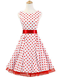 50s Era Vintage Style Sleeveless Rockabilly Dress Cosplay Costume White Red Polka Dot (with Petticoat)