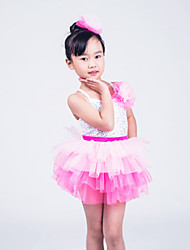 Kids' Dancewear Outfits Children's Performance Organza / Lycra Sequins Sleeveless High