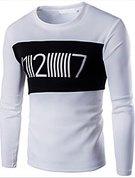 Men's Print Casual T-Shirt,Cotton Long Sleeve-Black / White