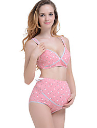 100% Cotton two-piece Women Maternity Cotton Full Coverage Bras & Panties Sets , Nursing / Wireless Breathable comfort