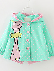 Girl's Blue / Green / Pink Trench Coat,Dot / Cartoon / Dresswear Cotton Winter / Fall