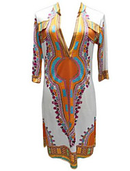 Women's Street chic Print Tunic Dress,V Neck Above Knee Polyester