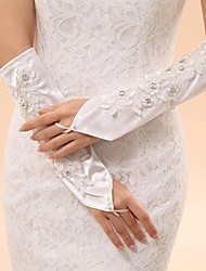 Elbow Length Fingerless Glove Elastic Satin Bridal Gloves Party/ Evening Gloves Spring Summer Fall Winter Beading Embroidery lace