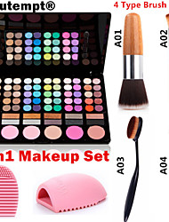 3in1 Make-up-Set (78 Farben 3in1 60 + 12 rauchigen Eyeshadow 6 Rouge Make-up Kosmetik-Palette + 1 errötenpinsels + 1 Pinsel Ei)