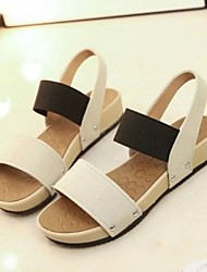 Women's Shoes Leatherette Wedge Heel Peep Toe / Round Toe Sandals Outdoor / Casual Black / Blue / Red / Khaki