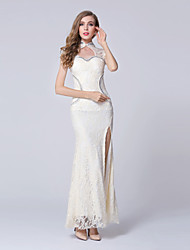 Formal Evening Dress-Champagne Trumpet/Mermaid Sweetheart Ankle-length Lace