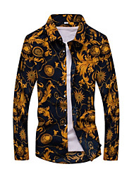 Men's Casual/Daily Spring Fall Shirt,Print Long Sleeves Cotton
