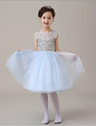 2016 New Fashion Korean Version Sky Blue Chiffon A-line Knee-length Sequined Flower Girl Dresses