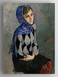 Oil Painting Impression Poeple a Woman Wearing Scart Hand Painted Canvas with Stretched Framed
