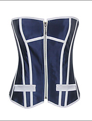 Shaperdiva Women's Sexy Strapless Corset Top Satin Uniform Corset with Zipper Front