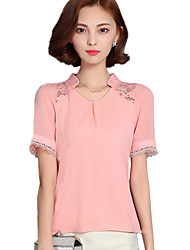 Summer Fashion Women's Lace Spliceing Chiffon V Neck Short Sleeve Work Blouse Shirt Tops