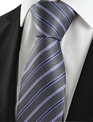KissTies Men's New Striped Lilac Black Microfiber Tie Necktie For Wedding Party Holiday With Gift Box