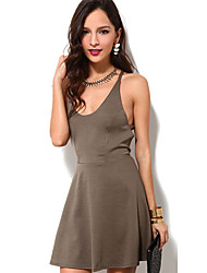 Women's Sexy Solid A Line / Loose Dress,Strap Mini Polyester