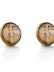 Lureme® Vintage Jewelry Time Gem Series Western Map Antique Bronze Disc Stud Earrings for Women and Girls
