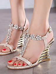 Women's Shoes Synthetic Wedge Heel Open Toe Sandals Party & Evening / Dress Purple / Almond