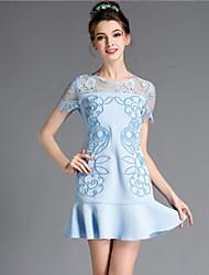 aofuli europa fashion Frauen Vintage elegante Stickerei Patchwork Spitze Rüsche plus Größe Kleid kurze Hülse