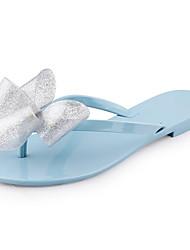 Calçados Femininos-Sandálias-Plástico / Chinelos-Rasteiro-Rosa-PVC-Ar-Livre