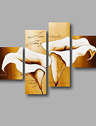 """Stretched (ready to hang) Hand-painted Oil Painting 60""""x44"""" Canvas Wall Art Modern Flowers Beige White Lily"""