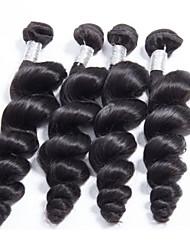 """4pcs / lot 8 """"-30"""" 100g / cheveux vierges bruns orchestraux de cheveux de la couleur # 1b cheveux lâches tissés"""