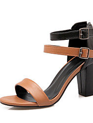 Women's Shoes Leatherette Chunky Heel Heels / Gladiator Sandals Office & Career / Dress / Casual Orange / White