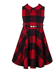 Girl's Red Dress,Check Wool Spring / Fall