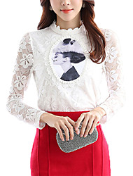Women's Patchwork White Slim Blouse,Stand Long Sleeve