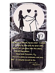 For LGK10 K7 K8 V10 LS775 Case Cover Moon Couple Pattern Painting Card Stent PU Leather Phone Case
