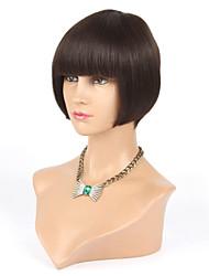 Full Machine Made None Lace Human Hair Wigs Bob With Bangs Brazilian Virgin Glueless Lace Front Human Hair Wigs