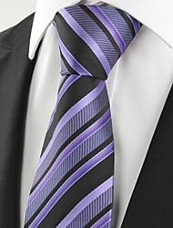 New Striped Lavender Purple Black Men's Tie Necktie Wedding Holiday Gift #1056