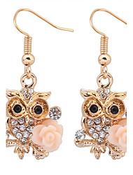 Earring Flower / Animal Shape / Owl Drop Earrings Jewelry Women Party / Daily / Casual Alloy / Resin / Rhinestone 1 pair White / Pink