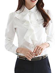 Mulheres Blusa Casual / Trabalho Simples Primavera / Outono / Inverno,Sólido Branco / Preto Poliéster Colarinho de Camisa Manga Longa