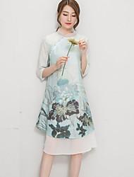 De las mujeres Línea A Vestido Vintage Estampado Asimétrico Escote Chino Poliéster